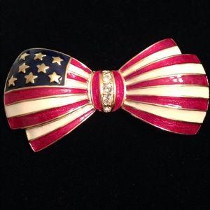 Retired Joan Rivers Patriotic Bow Pin